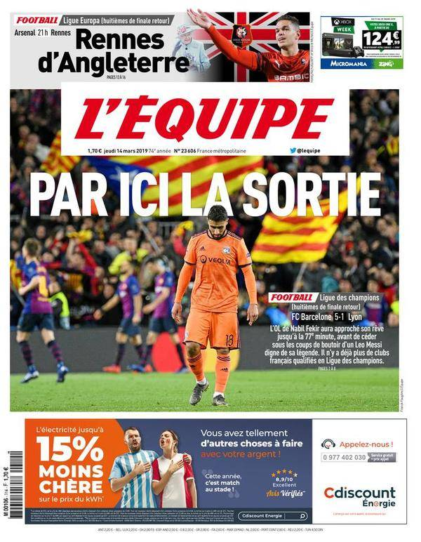 L'Equipe Reaction Barca vs Lyon