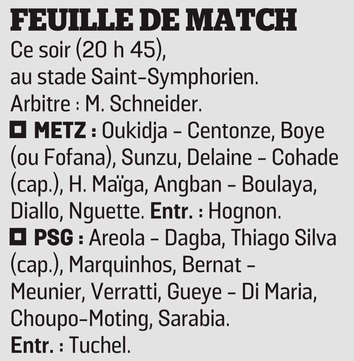 Le Parisien Predicted Lineups Metz PSG